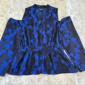 Bolt Elements Blue off the shoulder peplum blouse